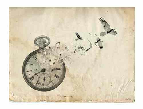 Broken clock with butterfly shards tatto design