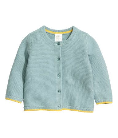 Light teal. BABY EXCLUSIVE/CONSCIOUS. Cardigan knit in a garter stitch in soft, organic cotton yarn. Round neck, buttons at front, and contrasting trim at