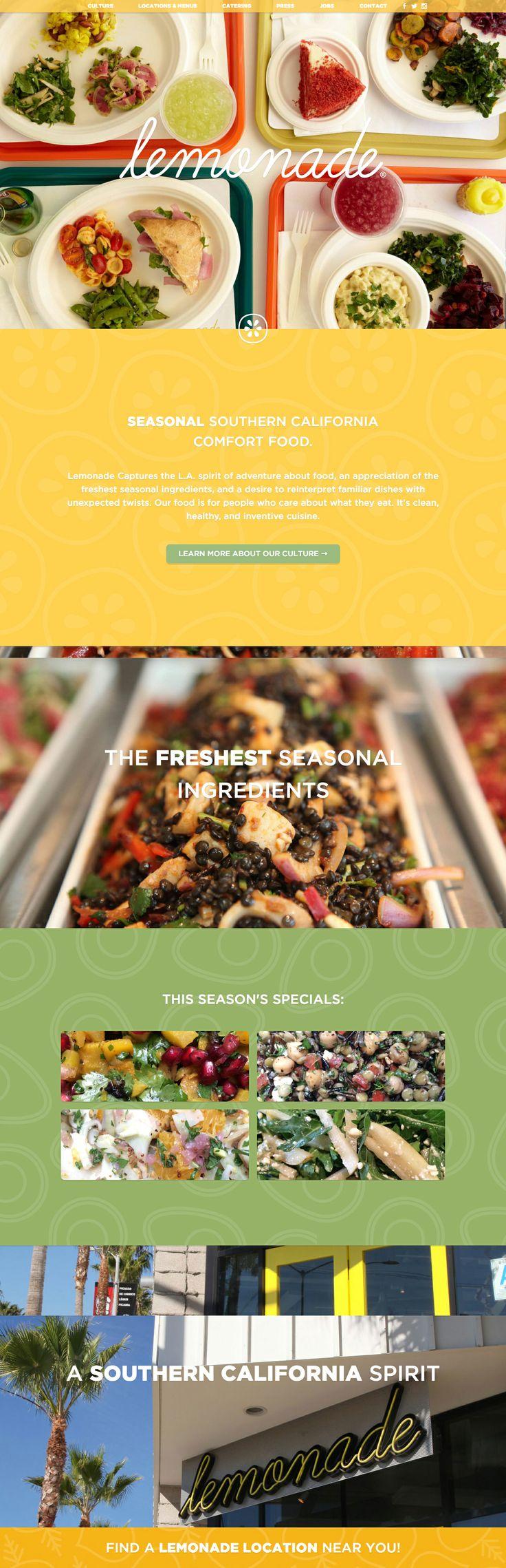 Lemonadela - cheerful colors and vibrant food photography, neat stacking submenus
