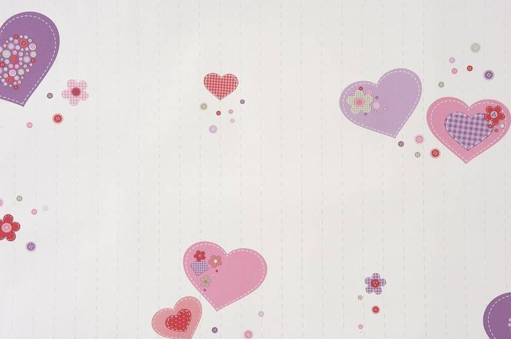 Caselio Hartjes en Knoopjes behang in paars/roze/framboos