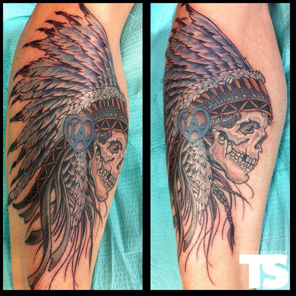 Indian Head Dress tattoo by Phil Robertson