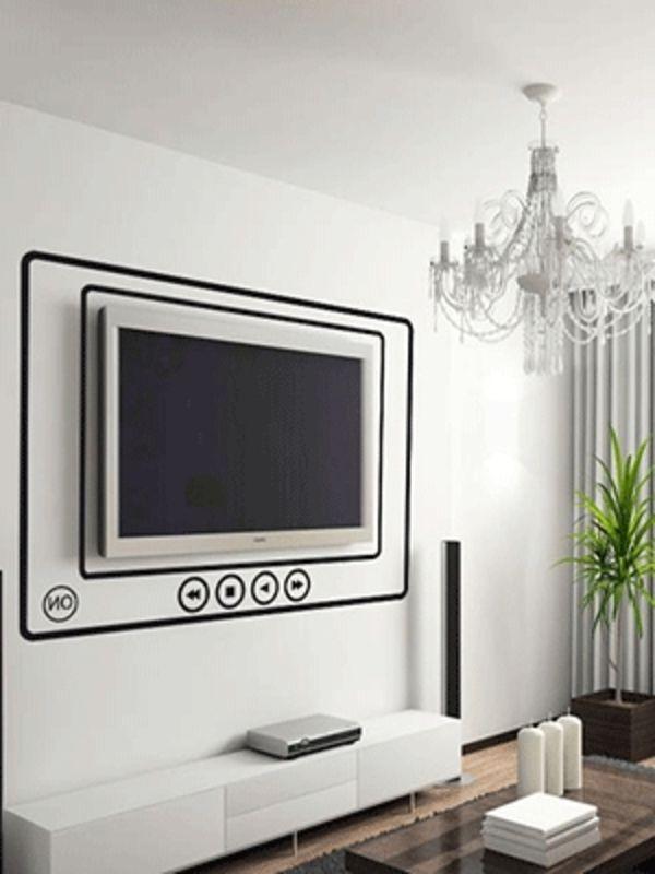 dekorative schwarze linien um einen fernseher modernes wohnzimmer mit deko w nden zeit f r. Black Bedroom Furniture Sets. Home Design Ideas