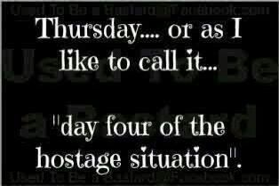 Thursday = day 4 of the hostage situation.  Don't let your job keep you hostage. Join hireq.com and learn to love Thursdays again.