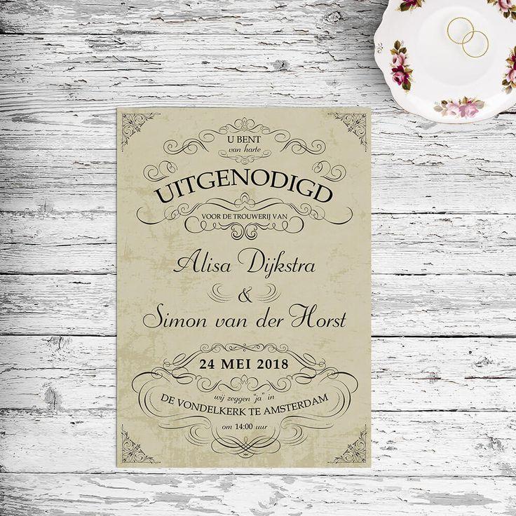 Klassieke, zeer sierlijke lettertypes zorgen voor een zwierige, elegante trouwkaart. Een simpel concept maar zeer doeltreffend in stijl.