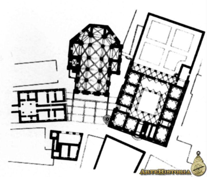 Pienza. Planta de la plaza central - La plaza, es el espacio urbanístico más representativo de la ciudad del Humanismo: EL QUATTROCENTO TRATARÁ DE REGULARLA Y DOTAR DE CIERTA UNIFORMIDAD  A SUS FACHADAS Y DE DARLE UNA FIGURA GEOMÉTRICA RECONOCIBLE. Características de la arquitectura:  •someter a módulos,  •a estudios matemáticos y geométricos de las proporciones corregidas a veces por la óptica, a la simetría central, •a la correspondencia los entre la totalidad y cada una de sus partes