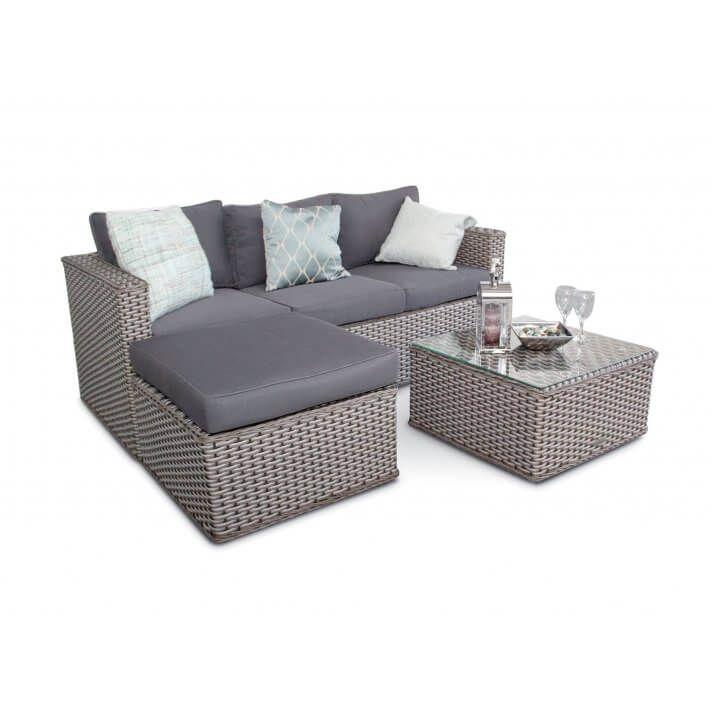 Bahamas Rattan 3 Seater Outdoor Sofa Set 5 Seater Whitewash Grey Grey Rattan Corner Sofa Outdoor Sofa Sets Furniture Sofa Set
