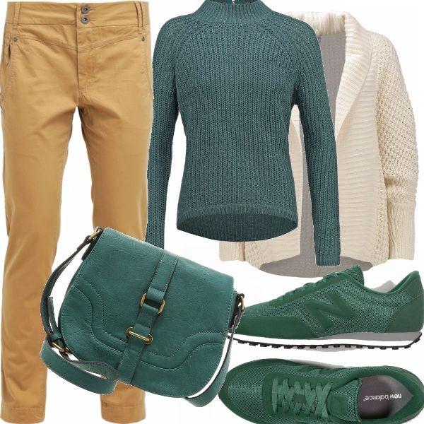 Coloriamo l'autunno, lo scaldiamo con colori della natura, avvolgendoci nei caldi maglione e cardigan, i pantaloni comodi, le scarpe sportive di un brillante verde e la piccola traccolla seller in tinta!