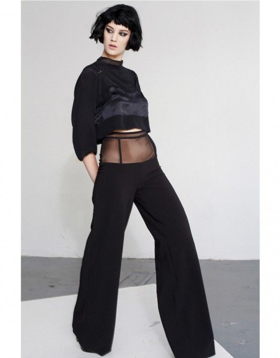 Shop the pieces: Slip Crop Top http://www.murmurstore.com/product/slip-crop-top/  Invisible Trousers http://www.murmurstore.com/product/invisible-trousers/