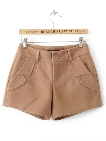 Khaki Turn Up Pockets Embellished Shorts $29.76