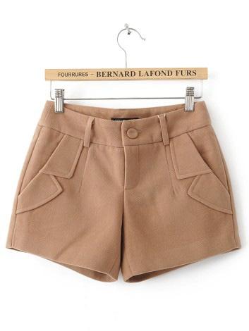 Khaki Turn Up Pockets Embellished Shorts $29.76