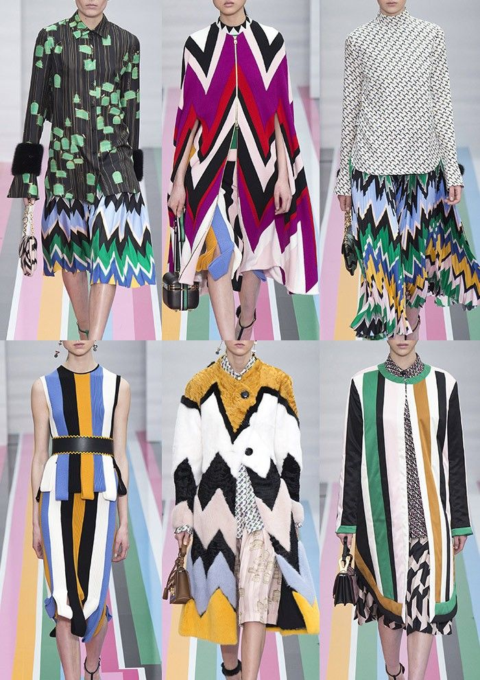 Salvatore_Ferragamo_AW1617 - Bold Zig-zags – Black & Candy Colour Mixes – Chunky Stripes – Sharp Geos – Multi Colour Furs – Bird Cage prints – Rickrack Trims – Giant Hounds Tooth – Monochrome Checkerboard Pattern