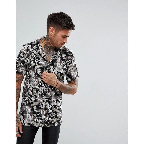 boohooMAN Revere Shirt With Floral Print In Black (1,215 PHP) ❤ liked on Polyvore featuring men's fashion, men's clothing, men's shirts, men's casual shirts, black, mens short sleeve floral shirt, mens base layer shirt, men's regular fit shirts and mens short sleeve denim shirt