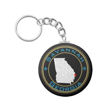 #Savannah Georgia and Chatham County Souvenir Keychain - #familyreunion #family #reunion
