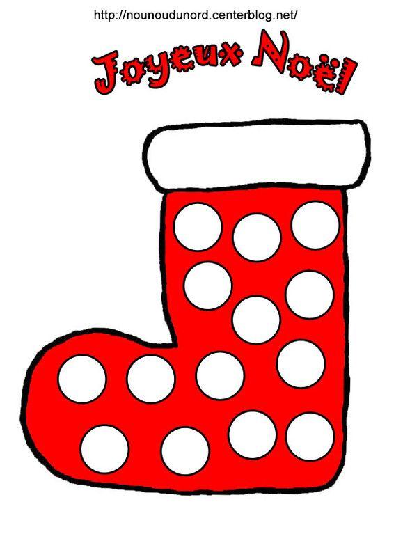 botte rouge de Noël à gommettes