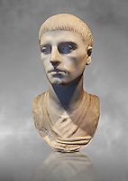 Roman portrait bust of a young man from the rule of Trajan 98-117 AD. This bust of a man presents a hairstyle with long curls that are closely cut to ...