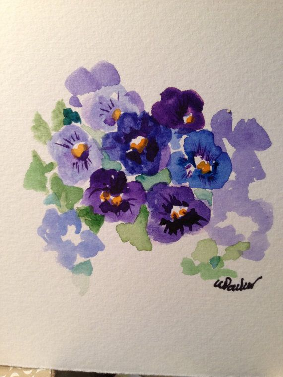Pansies Watercolor Card por gardenblooms en Etsy