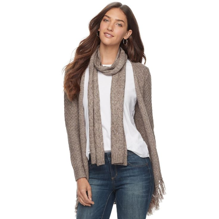 Women's SONOMA Goods for Life™ Scarf & Cardigan, Size: Medium, Med Brown