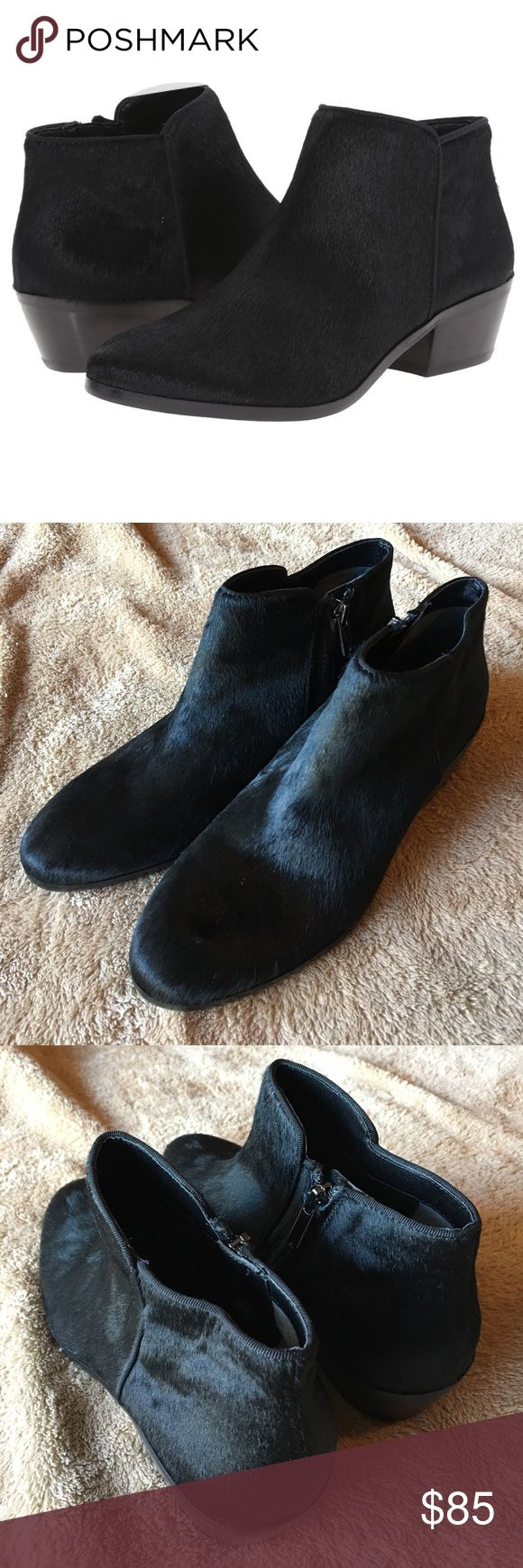 BRAND NEW! Sam Edelman Black Brahma Petty Booties Brand new! Never been worn! Black brahma color featuring genuine cow fur - it is sooo soft. made with dyed real fur from cow. Fur origin: China. Our signature Petty ankle boot is a seasonless staple among starlets and street-style icons alike. Granted 'cult favorite' status for combining comfort, style and versatility, the must-have bootie features a low, stacked heel and ankle zip. Pair yours with skinny denim and a slick leather jacket…