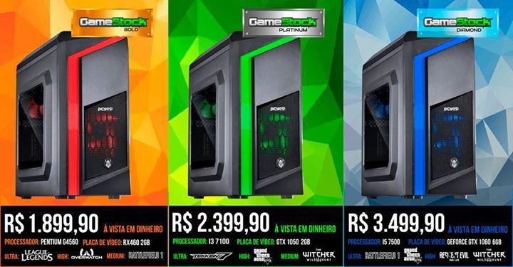 Seu PC GAMER está na GAMESTOCK :) Compare as configurações que montamos para você de acordo com os jogos que você mais curte, PC's GAMER a PRONTA ENTREGA. A partir de R$ 1899,90 - ACEITAMOS SEU CONSOLE, ACESSÓRIOS E JOGOS como forma de pagamento, corra e garanta o seu!  Configuração PC Gamer Gamestock GOLD Fonte - EVGA 400W Processador - Pentium G4560 Placa mãe - MSI H110 PRO-VH Plus Placa de video - RX 460 2GB Saphire Memória - HyperX Fury 8GB DDR4 HD - Seagate 1TB Gabinete - PCYES Dwarf…