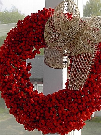 Cutest red wreath with burlap ribbon