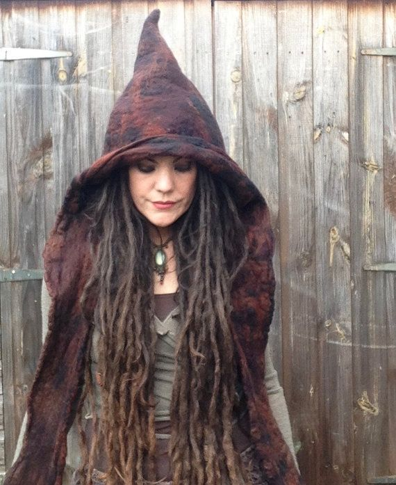 The 'Luridan' Earthy Felted Hooded Scarf Wizard Witch Hat Pixie Hood Fae Elf Elven Cosplay Costume, Pagan Fantasy LARP Wear