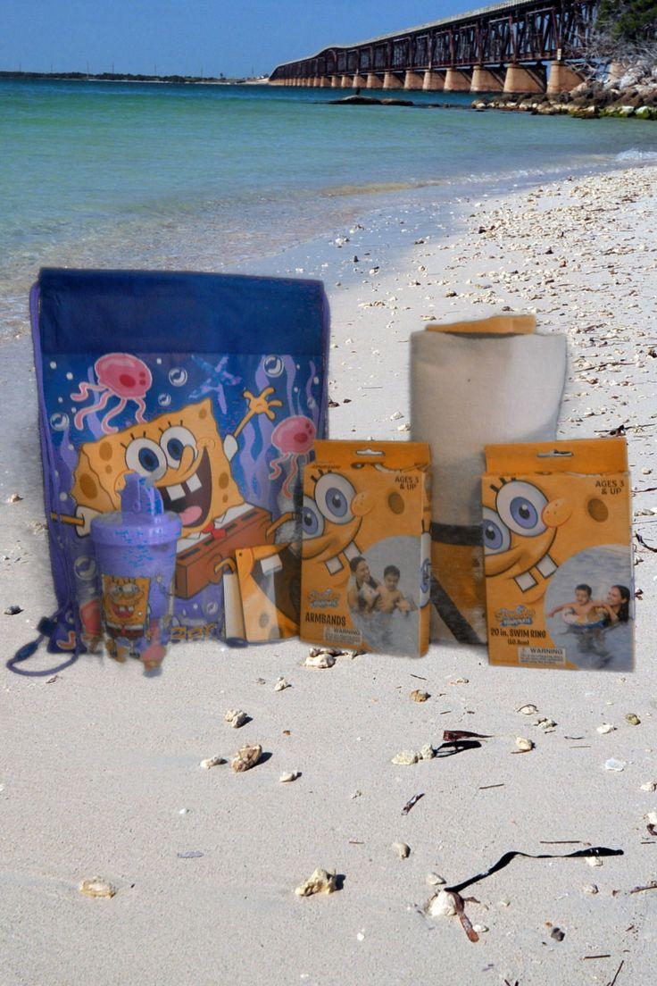 Spongebob Squarepants Personalized Beach Towel & Sling Bag Backsack Set
