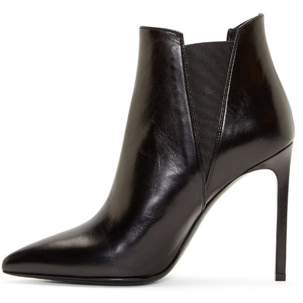 Saint Laurent Black Paris Pointed Ankle Boots (€730) ❤ liked on Polyvore featuring shoes, boots, ankle booties, short leather boots, pointed-toe boots, black ankle boots, black booties and pointy toe booties