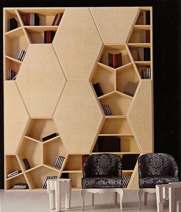 sechs ecken bücherregal designs als interieur akzente