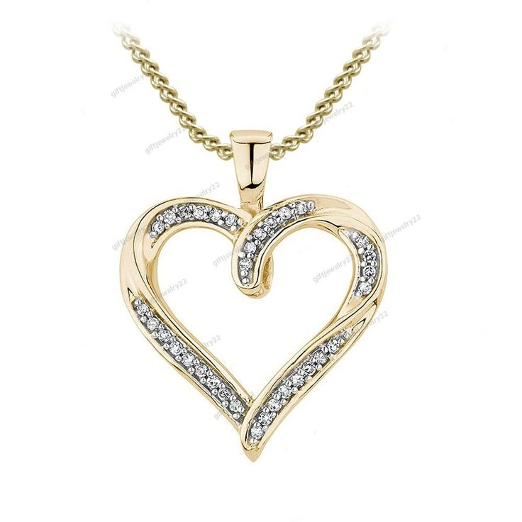 """Heart Shape Pendant Round Cut Diamond Lovely Ladies Gift 18"""" Chain Free Pouch #giftjewelry22 #HeartShapePendant"""