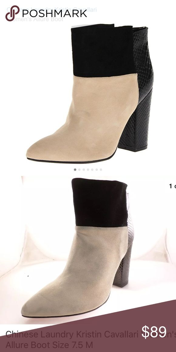 "Kristin Cavallari Chinese Laundry | Allure Booties Chinese Laundry | Kristin Cavallari ""Allure"" booties. Retail $159. Black & beige tan colorblock. Size 7.5. Minimal wear (see bottom of soles - virtually zero wear. But I'm a size 7 and these are a bit too big for me. Preowned. First pic is stock photo, the rest are my own. Please view all photos and ask any questions before purchasing. Difficult to see in the photos but some of the black leather rubbed off on the beige tan suede; some…"