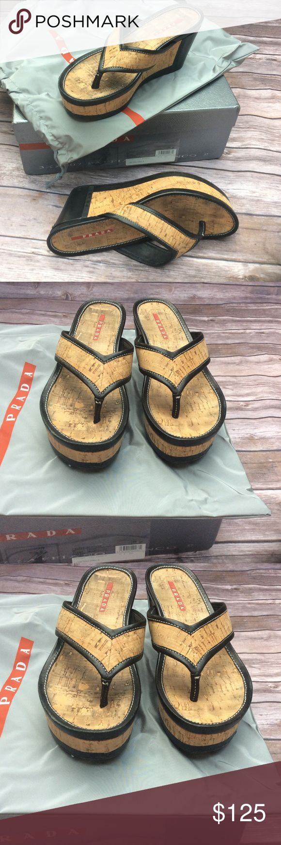 ⌛️1 HOUR SALE⌛️ PRADA WEDGE FLIP FLOPS SALE ENDS AT 11:00 PM CST. Authentic. Natural cork and black in color. Still have lots of life left in these. Box and dust bag included. No trades or modeling. Prada Shoes Wedges