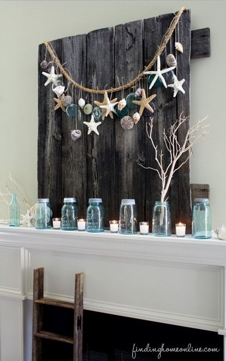 summer-beach-mantel- would like to do something like this with my little gourds