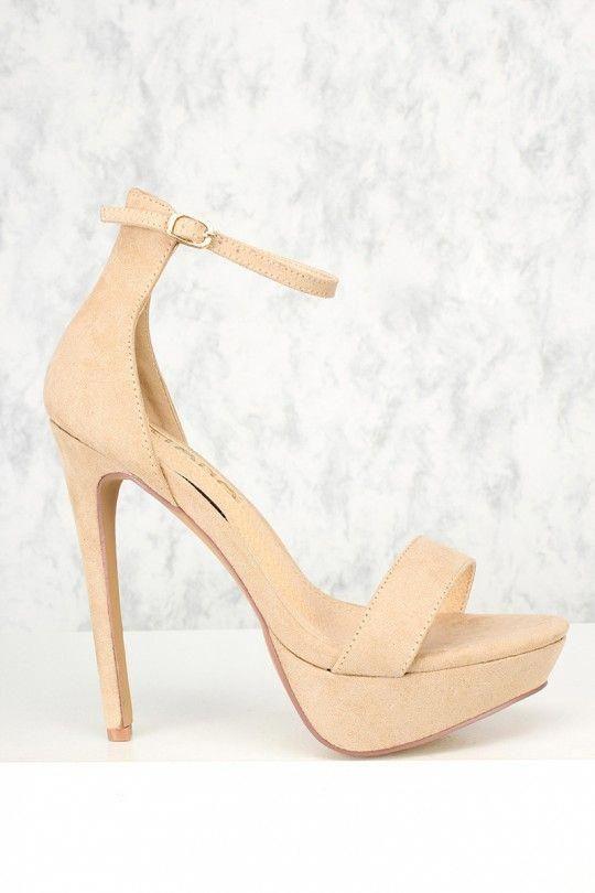 c726213d5260 Sexy Nude Open Toe Ankle Strap Platform Stiletto High Heels  Platformpumps