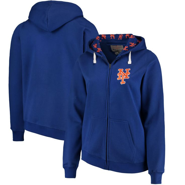 New York Mets Soft as a Grape Women's Plus Size Pennant Race Full-Zip Hoodie - Royal