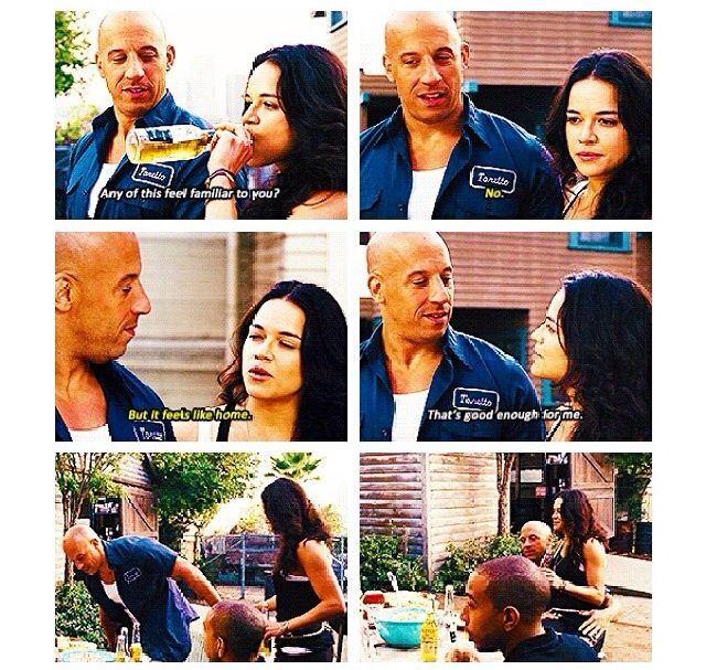 Dom and Letty- even after she lost her memory, she felt at home back
