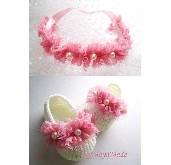 Ola rosa con cuentas patucos ganchillo y diadema conjunto - 4 tamaños
