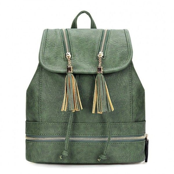 Yoins Textured Leather-look Backpack (€31) ❤ liked on Polyvore featuring bags, backpacks, green, handbags, green backpack, day pack backpack, decorating bags, drawstring bag and draw string bag