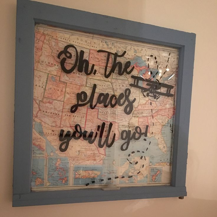 Close up pic of the old window I created for my son's aviation themed nursery   Materials: Old window, vintage map, chalk paint, permanent marker and favorite quote :)