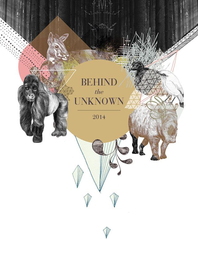 http://www.behance.net/gallery/BEHIND-THE-UNKNOWN/3522439  calendar, 2014, animals, cryptozoology, collage, illustration #ElementEdenArtSearch