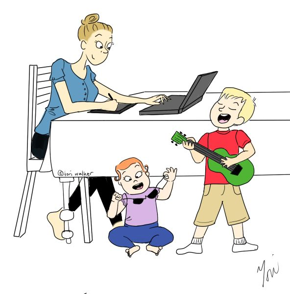 The kids occupy themselves while Mama works.  This work from home thing is a breeze...