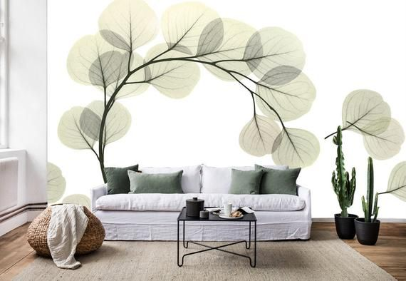 3d Green Leaves Gn300 Wallpaper Mural Decal Mural Photo Etsy In 2021 Adhesive Wall Art 3d Wallpaper For Walls Wall Murals