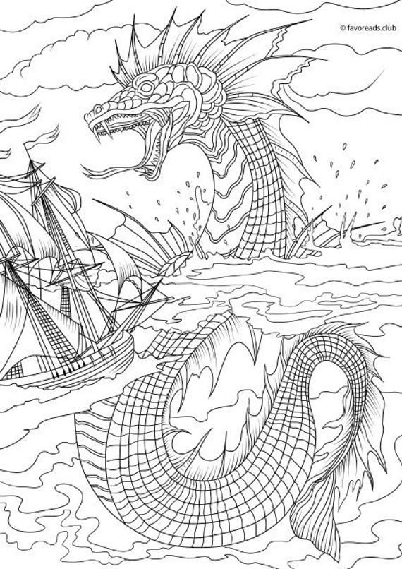 Sea Monster Printable Adult Coloring Page From Favoreads
