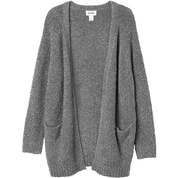 Monki Bibi knitted cardigan ($22) ❤ liked on Polyvore featuring tops, cardigans, jackets, outerwear, grey cloud melange, grey cardigan, gray top, cardigan top, monki and grey top