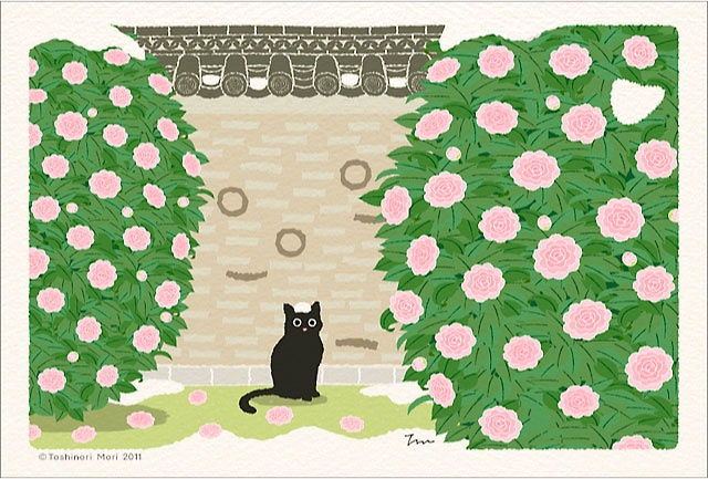 It is Japanese scenery and the illustration of the cat