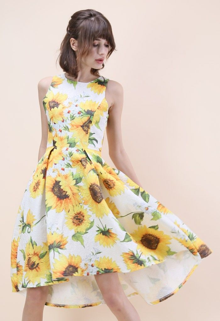 Sprightly Sunflower Jacquard Waterfall Dress - Dress - Retro, Indie and Unique Fashion