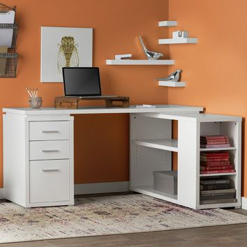 Features:  -Shelving unit cannot rotate.  -3 drawer cabinet is included as part of the desk.  Desk Type: -Computer desk.  Base Material: -Other/Manufactured Wood.  Top Material: -Manufactured Wood. Di