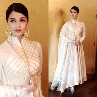 Aishwarya Rai Bachchan looking stunning in cream anarkali designed by Rohit Bal