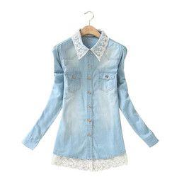 Blusa de encaje azul xxl en Línea-XH08 mujeres de la manera elegante del remiendo del dril de algodón blusas de encaje azul gira el collar abajo camisas de manga larga bolsillo más el tamaño XXL tapa ocasional