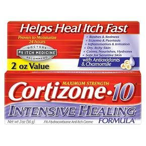 Cortizone 10 Intensive Healing Formula is extra creamy to go on smoothly and relieve itch quickly while helping to heal the skin's underlying problems. It contains 7 moisturizers and 3 skin nurturing vitamins and is proven to moisturize for 24 hours. The calming formula is also safe for sensitive skin. Cortizone 10 Intensive Healing Formula Anti-Itch Creme is great for relieving: rashes and redness, eczema and psoriasis, inflammation and irritation and dry, itchy skin.
