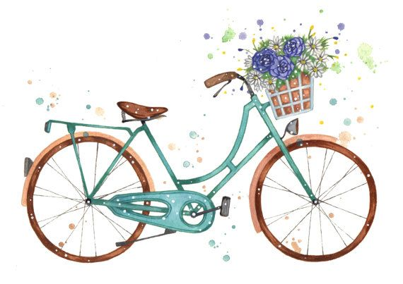 Watercolour Vintage Bicycle // 5 x 7 Original by EnglishRoseCards